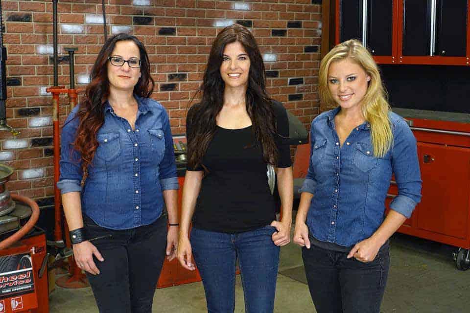 "All Girls Garage's Hosts, Cristy Lee, Rachel Del Barros and Sarah ""Bogi"" Lateiner."